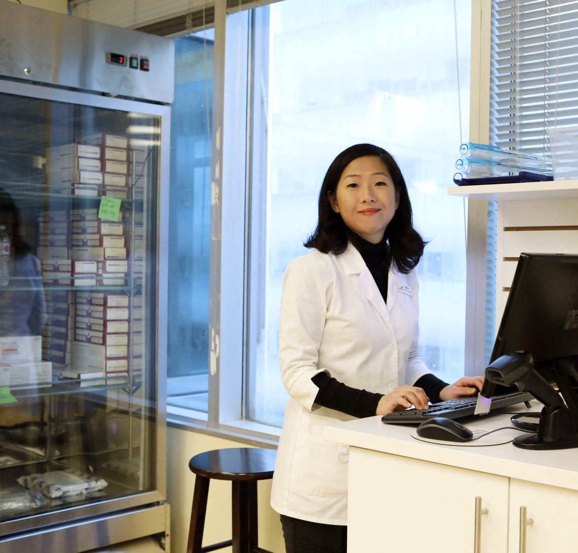 A photograph of a pharmacist in the fertility pharmacy.