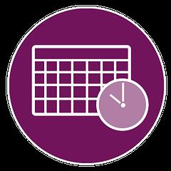 An illustration of a calendar and a clock.